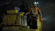 Screen capture from a Metanor Resources' promotional video, showing a miner at the Bachelor gold mine in Quebec. Credit: Metanor Resources.