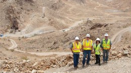 Members of the Northern Vertex team at the Moss gold project in northwestern Arizona. Credit: Northern Vertex.