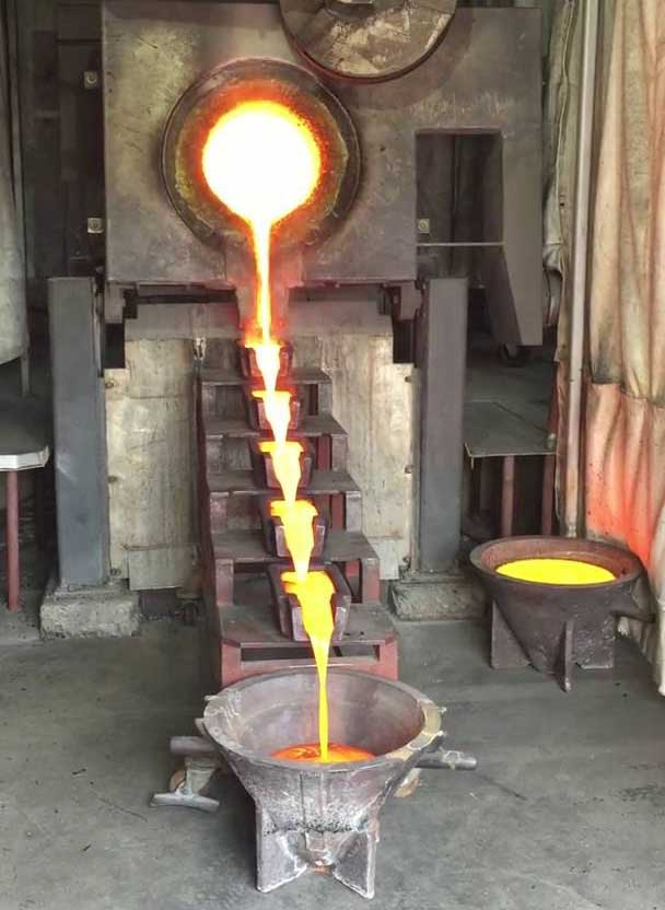 A gold pour at Rye Patch Gold's Florida Canyon mine in Nevada. Credit: Rye Patch Gold.