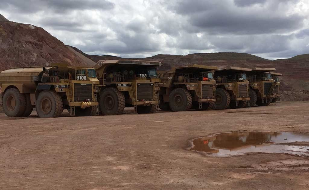 Mining trucks at Rye Patch Gold's Florida Canyon mine in Nevada. Credit: Rye Patch Gold.