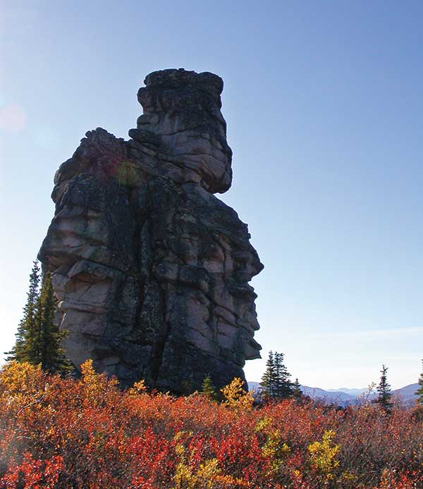 """A granite tor known as """"The Granite Man,"""" which sticks out on the landscape of the G4G claim block, north of Goldcorp's nearby Coffee gold deposit in the Yukon. Photo by Shawn Ryan."""