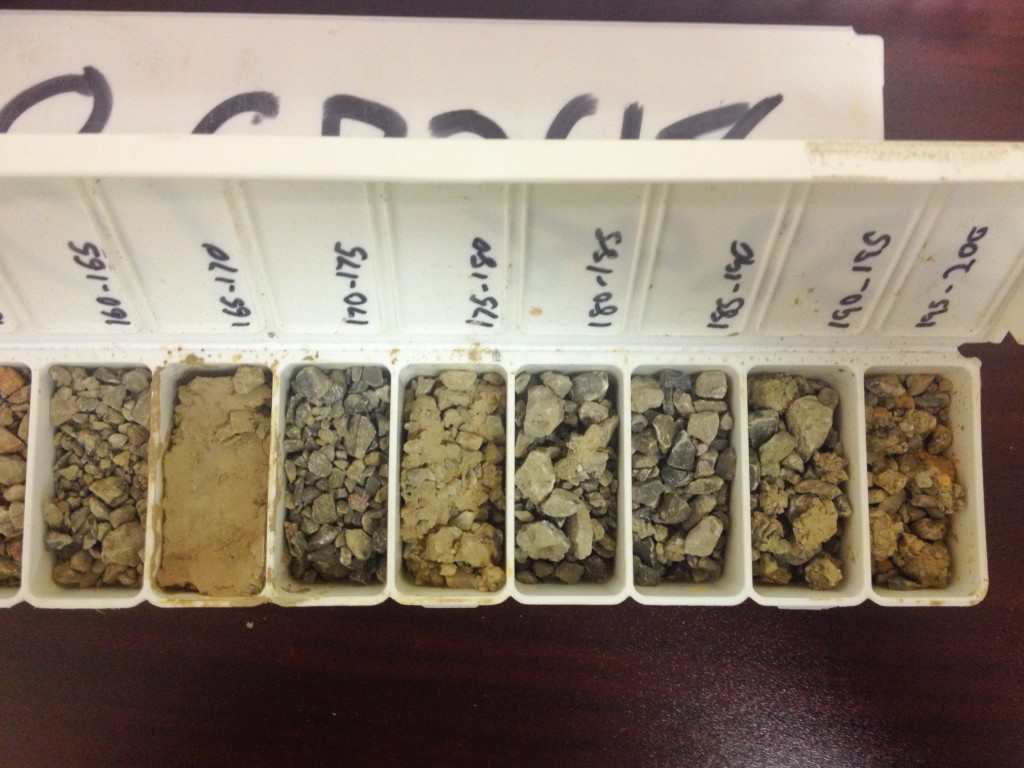 High-grade gold intervals in reverse circulation drill samples from McEwen Mining's Gold Bar project in Nevada. Hydrothermal fluids decalcify carbonate host rocks in Carlin-style gold deposits, leaving behind gold and clay. Photo by Lesley Stokes.