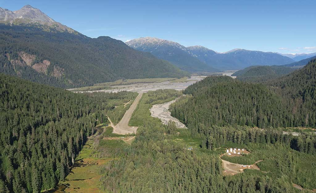 Flying into Skeena Resources' Snip gold property in northwest B.C., looking north towards the camp, airstrip, Bronson Creek and the Iskut River.  Photo by Ron Nichols.