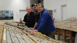 Engold Mines' technical team in the core shack at the Aurizon polymetallic project in central B.C., from left: Rob Shives, vice- president of exploration; Jesse Berkey, senior field manager; and Bernie Augsten, geologist. Credit: Engold Mines.