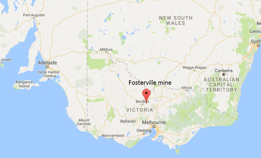 Location map of Newmarket Gold's (now Kirkland Lake Gold's) Fosterville gold mine in Australia. Credit: GPS-Coordinates.net.