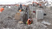 Workers install services for Pretium Resources' Brucejack project camp. Credit: Pretium Resources.