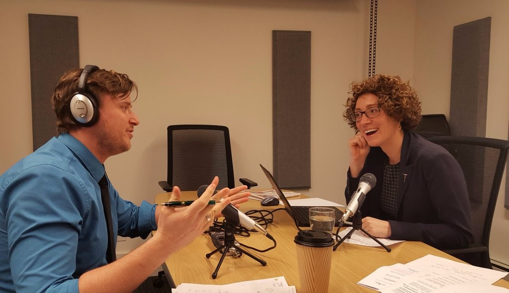 The Northern Miner's Vancouver editorial team of Matthew Keevil and Lesley Stokes recording a podcast in our Vancouver studio. Credit: The Northern Miner.