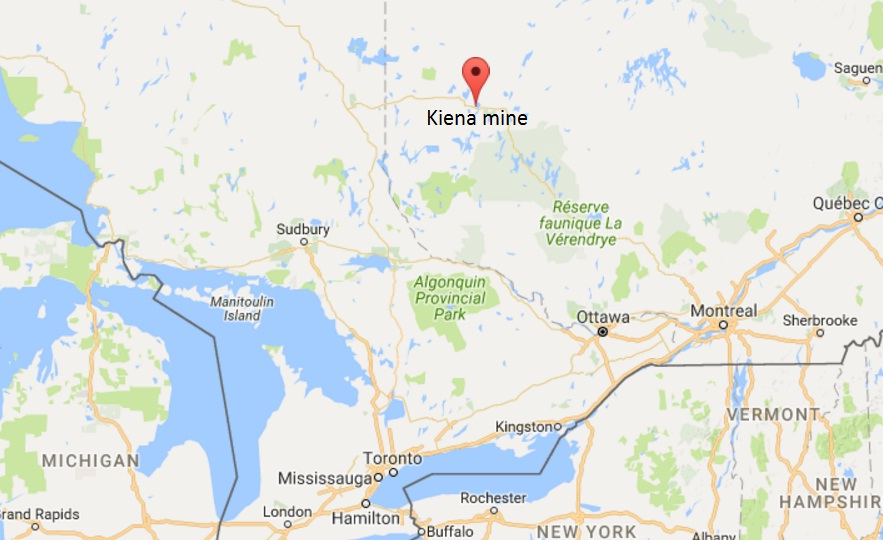 Location map of Wesdome Gold Mines' Kiena gold mine in Val-d'Or, Quebec. Credit: GPS-Coordinates.net.
