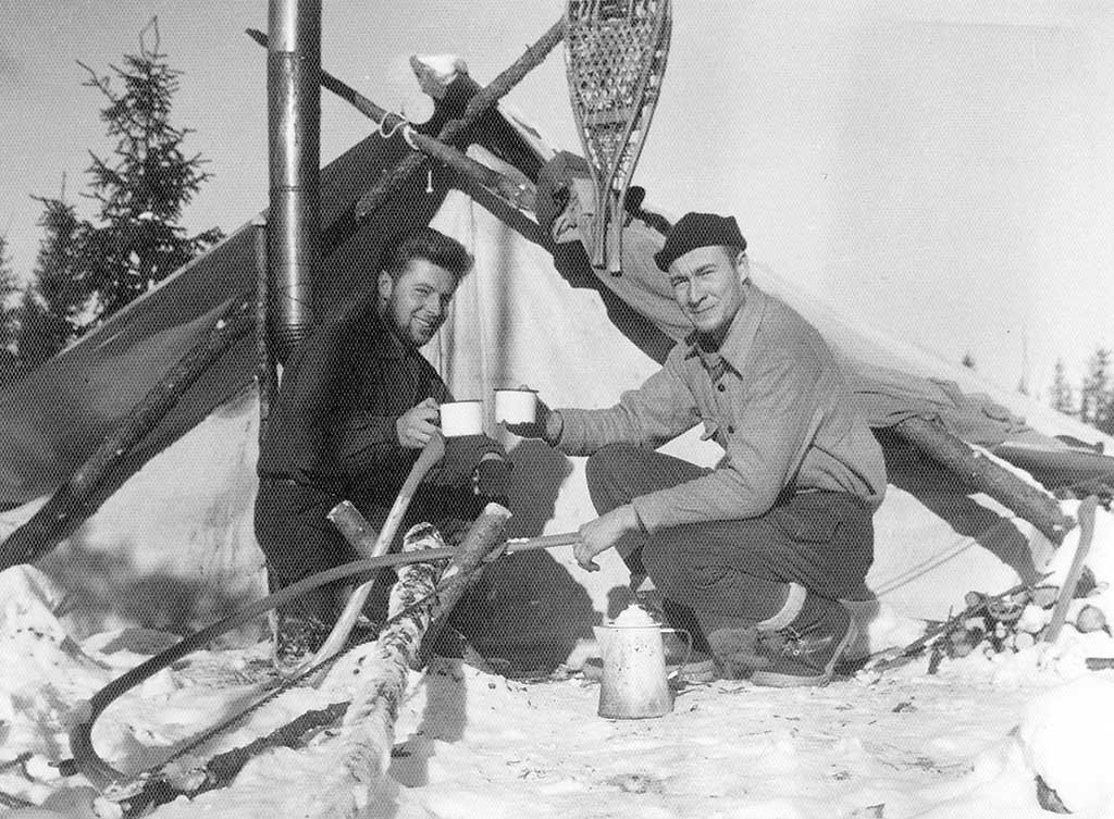 Christmas Day in 1958 in the Doda Lake area of Quebec: Zoran Jovanovic (left) and Harold Linder. Photo courtesy of Zoran Jovanovic.