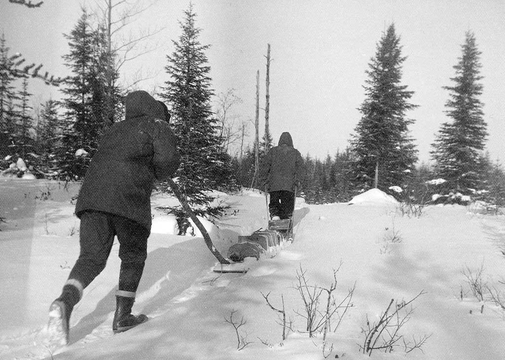 Our camp in the Doda Lake area of Quebec during the winter of 1958–1959. Photo by Harold Linder.
