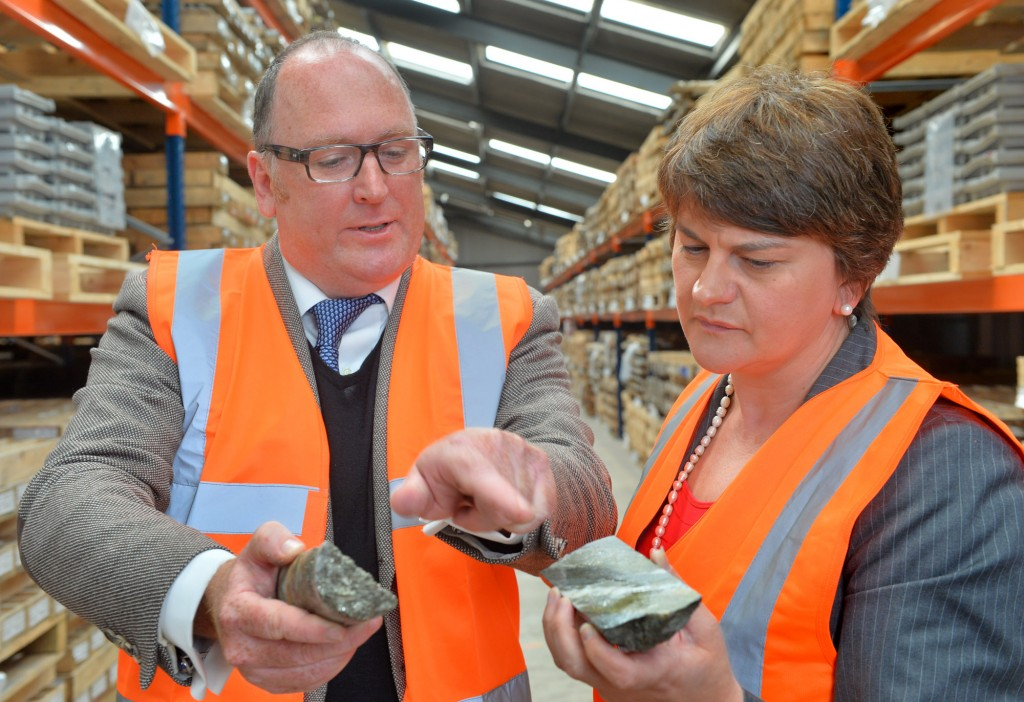 Northern Ireland's Minister for Enterprise, Trade and Investment, Arlene Foster MLA, and Dalradian CEO, Patrick Anderson, during a site visit in August 2014. Credit: Dalradian Resources.