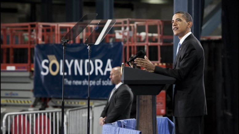U.S. President Barack Obama visiting the Solyndra plant in May 2010. The Silicon Valley startup collapsed in 2011, leaving taxpayers liable for US$535 million in federal guarantees. Credit: Solyndra.