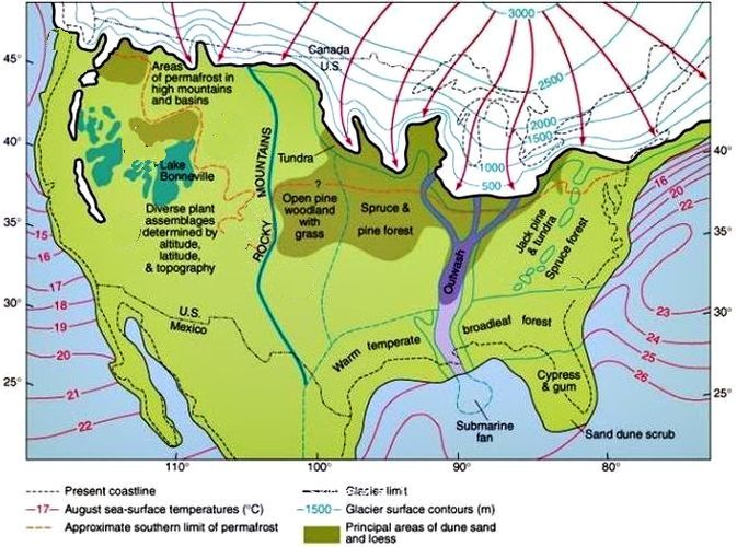 Ice thickness, landscape types and sea surface temperatures in North America during the last glacial maximum. Credit: Dandebat.
