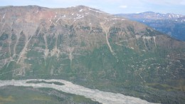 Drill roads on Mt. Lacasse at the Schaft Creek copper property in B.C. in 2011-12. Credit: Copper Fox Metals.