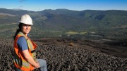 Geologist Laura Avery at Walter Energy's Willow Creek Mine, in northeast B.C. Credit: Walter Energy/Coal Association of Canada.