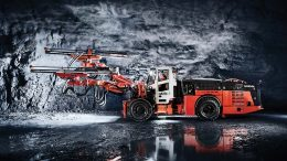 Sandvik Mining's battery-powered DD422iE underground jumbo, which Goldcorp will use at its Borden Lake mine. Credit: Sandvik Mining.