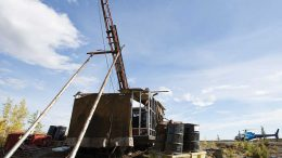 A drill rig at Nighthawk Gold's Colomac gold property in the Northwest Territories. Credit: Nighthawk Gold.