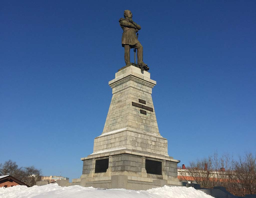 The monument to Count Nikolai Muravyov-Amurskii (1891) in Khabarovsk, the second most populous city in Russia's Far East. Photo by Salma Tarikh.