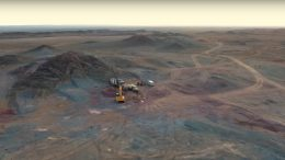 Drilling at Erdene Resource Development's Altan Nar gold-polymetallic project in southwestern Mongolia. Credit: Erdene Gold Development video screenshot.