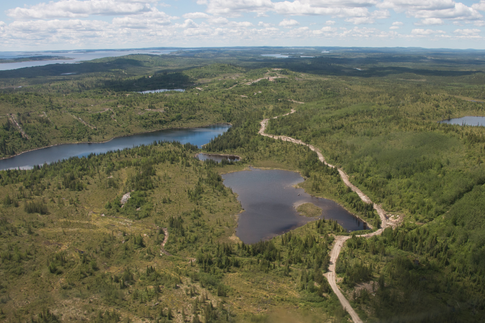 An overview of the Eau Claire deposit on the Clearwater project looking west. Credit: Eastmain Resources