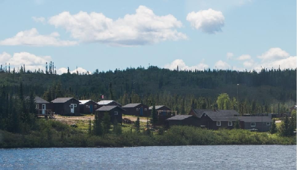 The cabins at the 30-person camp at Eastmain's Clearwater project in northern Quebec. Credit: Eastmain Resources