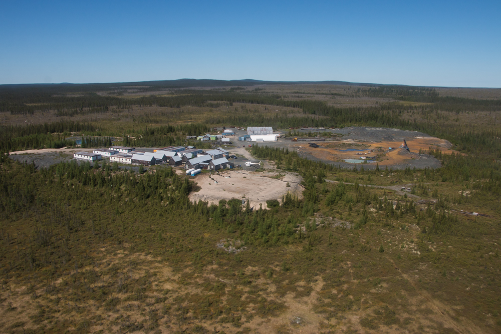 An aerial view of the 60-person camp, including full kitchen, core shack and cabins at the Eastmain project. Credit: Eastmain Resources