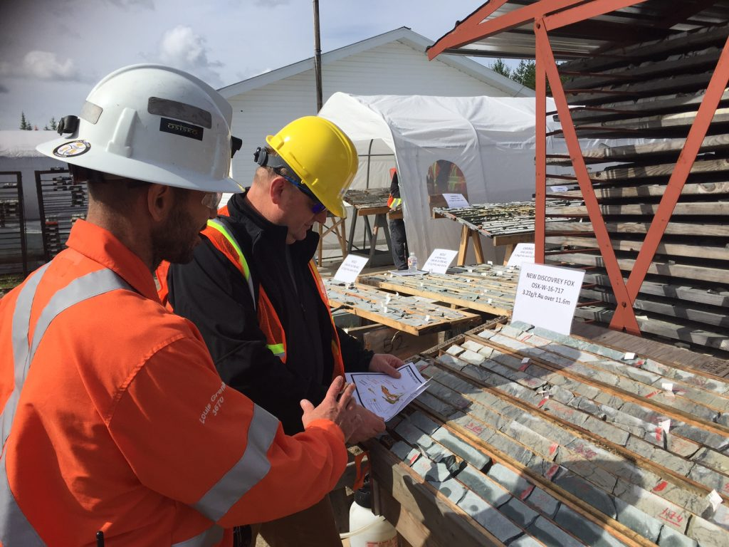 Looking at drill core at Osisko Mining's Windfall Lake gold project in northern Quebec. Credit: Osisko Mining.