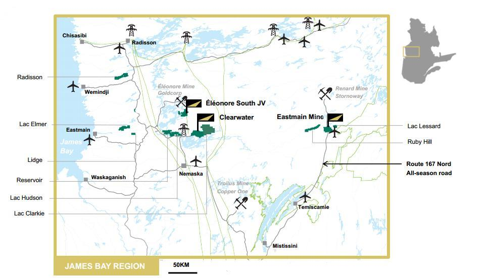 Eastmain Resources holds 1,376 sq. km in Quebec's James Bay region, which is Canada's newest gold district. Credit: Eastmain Resources