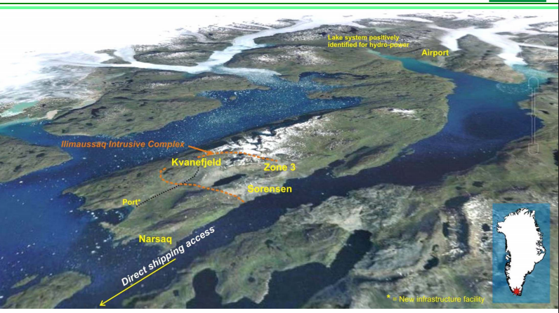 Overview of the Narsaq Peninsula in southern Greenland. The Kvanefjeld project is accessible year-round by ship from the North Atlantic. Credit: Greenland Minerals and Energy.