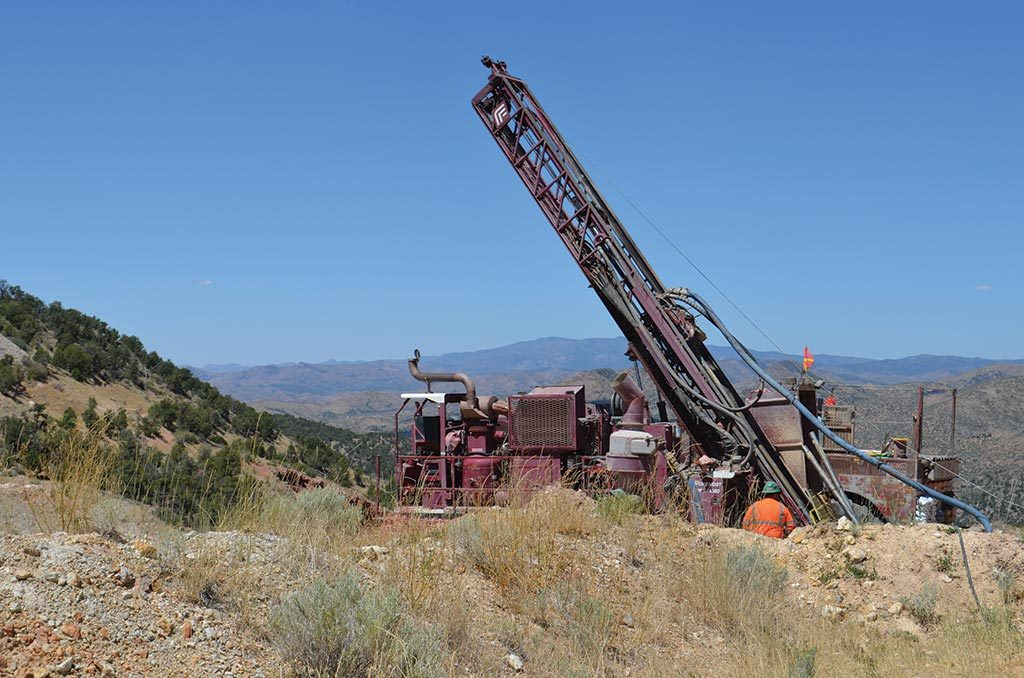 A drill rig at Pilot Gold's Goldstrike project in Utah. Credit: Plot Gold.