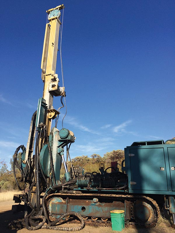 A drill rig at California Gold Mining's Fremont gold project in central California. Credit: California Gold Mining.