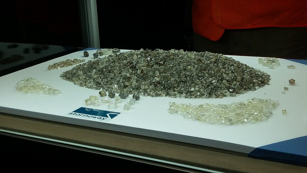 Diamonds from Stornoway Diamond's Renard mine in Quebec, on display during the opening ceremony on Oct. 19, 2016. Photo by Alisha Hiyate.