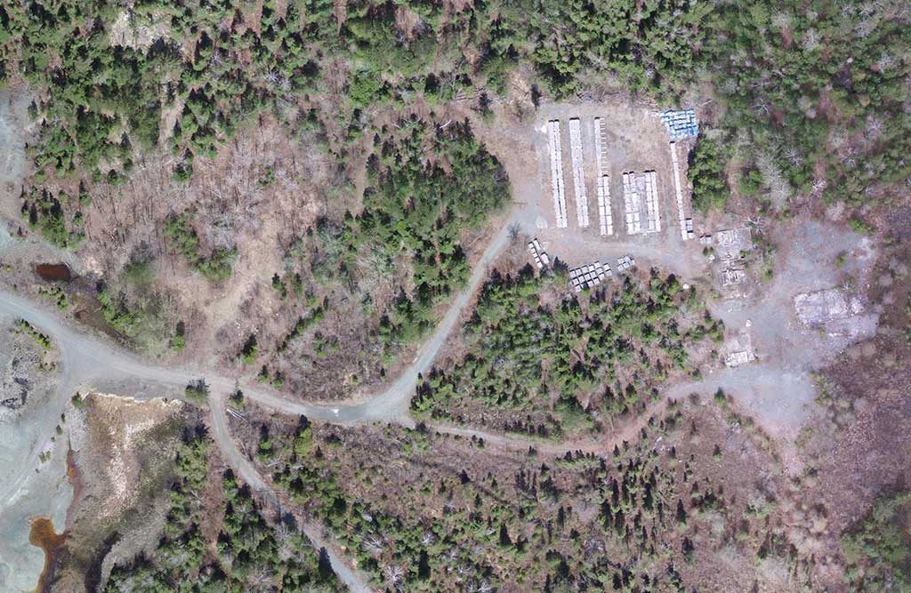 An aerial view of core boxes near the Simcoe No. 6 shaft at Brixton Metals' past-producing Gowganda silver project near Cobalt in northern Ontario. Credit:Brixton Metals.