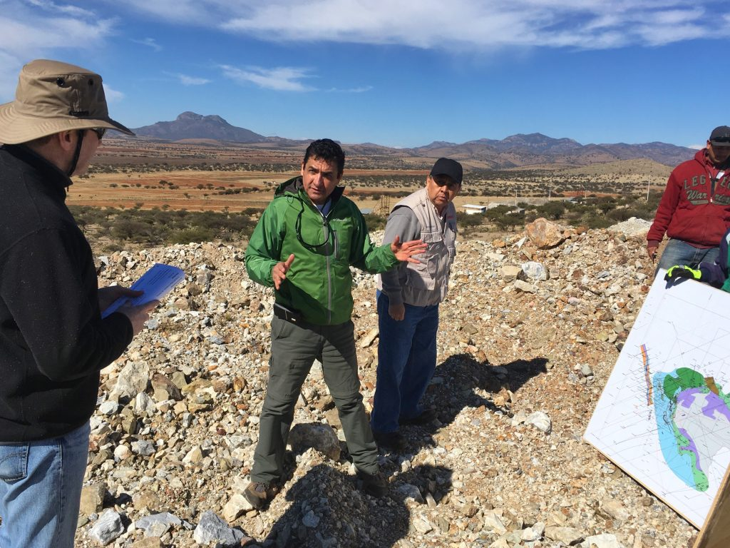 Southern Silver Exploration project geologist Juan Lopez Luque (centre, gesturing) leads the geology conversation at the company's Cerro Las Minitas polymetallic project in Durango state, Mexico. Photo by Lesley Stokes.