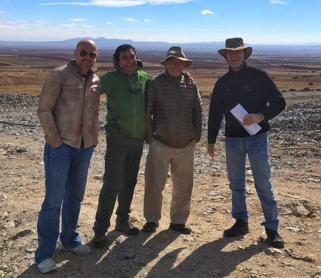 At the Cerro Las Minitas property in Durango state, Mexico, from left: Newsletter writer Eric Muschinski; Southern Silver Exploration project geologist Juan Lopez Luque; Southern Silver president Lawrence Page; and Southern Silver general manager of exploration Robert MacDonald. Photo by Lesley Stokes.