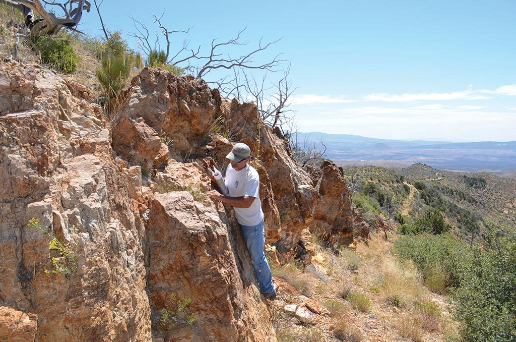 Regional geologist Peter Shabestari in the field at Pilot Gold's Goldstrike property in southwestern Utah. Credit: Plot Gold.