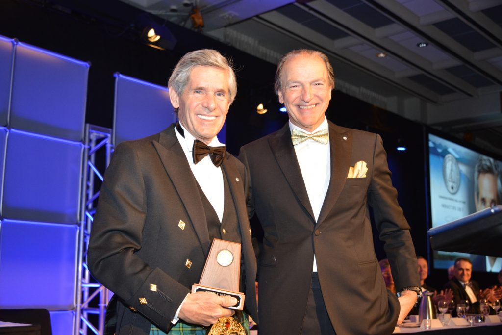 CMHF inductee Rob McEwen (left) and master of ceremonies Pierre Lassonde. Credit: Keith Houghton Photography.