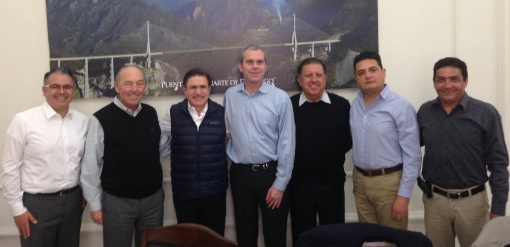 Southern Silver Exploration personnel meet with Durango state officials, from left: Mauricio Heiras Garibay, legal counsel for Southern Silver; Lawrence Page, president of Southern Silver; Jose Aispuro Torres, Durango state's governor; Robert Macdonald, general manager of exploration at Southern Silver; Ramon Davila Flores, Durango state's minister of economic development; Abel Cano Mendoza, VHG Legal Services; Juan Lopez Luque, project geologist at Southern Silver. Credit: Southern Silver Exploration.