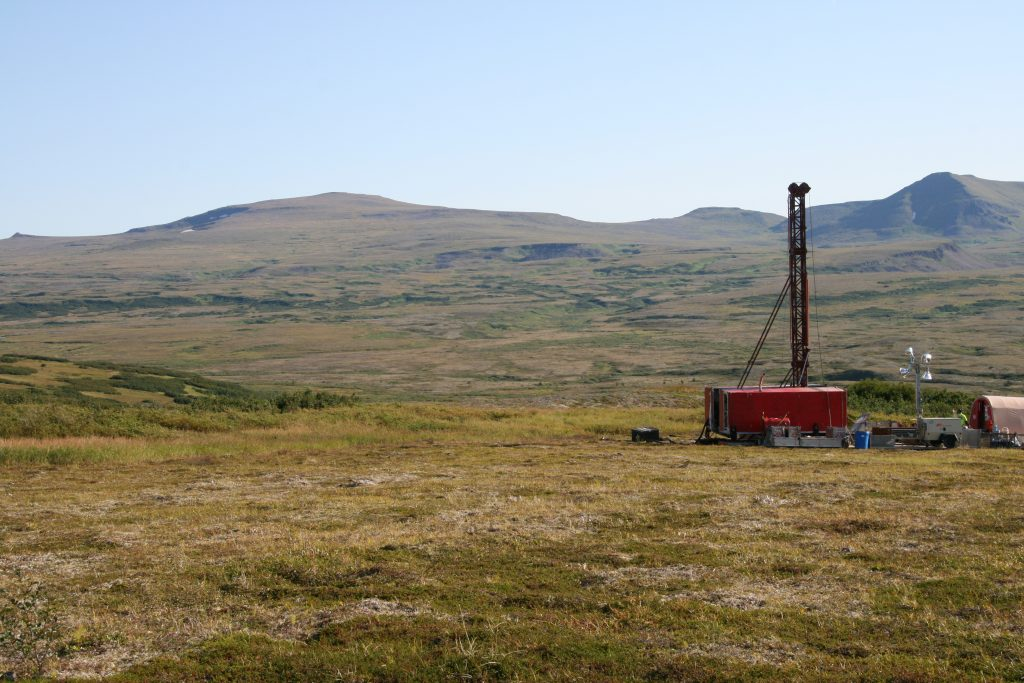A drill rig at Northern Dynasty Minerals' Pebble copper-gold project in Alaska in July 2014. Credit: Northern Dynasty Minerals.