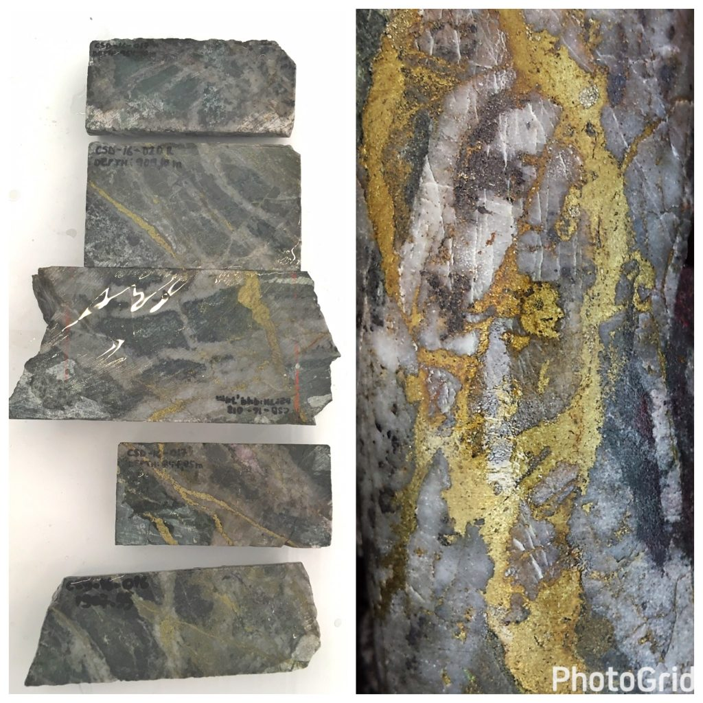 Ward says there are at least two features in SolGold's drill core that suggests Alpala is part of a large-scale mineralizing system. The drill core displays at least 12 vein episodes that introduced copper-gold into the Alpala Central deposit, which demonstrates a 'complex and powerful' stress regime. And, secondly, the majority of mineralization seen to date is associated with lower temperature alteration minerals, which suggest that Alpala's high-temperature and higher-grade core is yet to be discovered. Credit: Lesley Stokes (photo on the left) and SolGold (photo on the right).