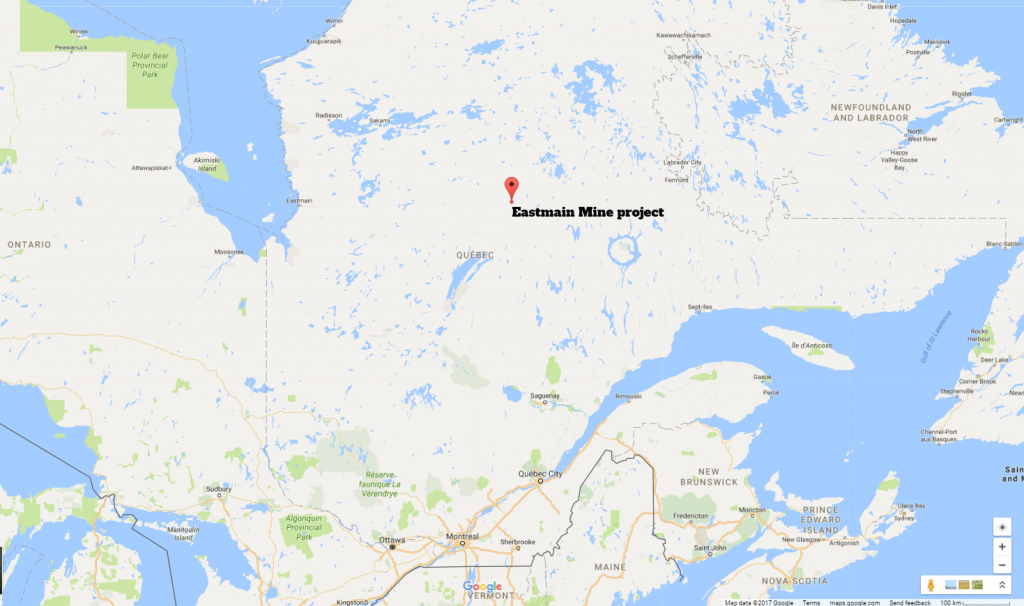 The Eastmain Mine project is 320 km northeast of Chibougamau, Quebec.