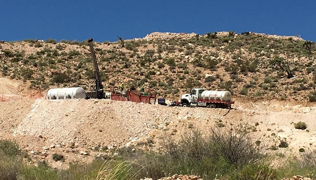 Drilling equiment at NewCastle Gold's Castle Mountain project in California's San Bernardino County. Credit: NewCastle Gold.