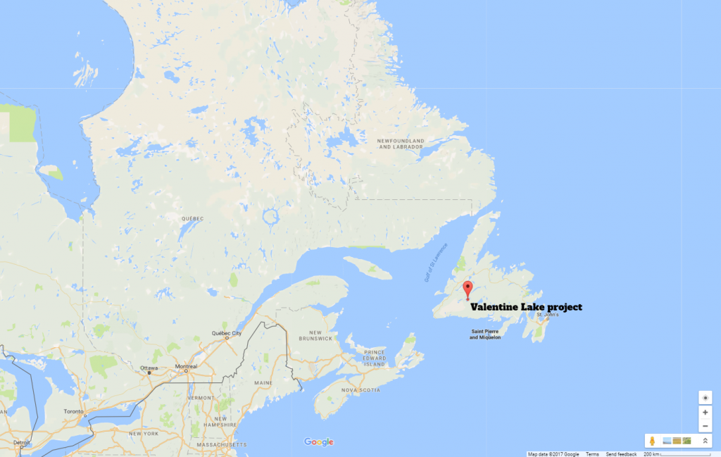 Valentine Lake is located 57 km due south of Buchans, Newfoundland.