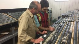 Project manager Denis Chénard (left) and geologist Joël Laurin at Probe Metals Val-d'Or East gold project. Credit: Probe Metals.