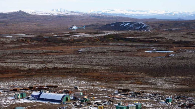A helicopter above a camp at Northern Dynasty Minerals' Pebble copper-gold project in Alaska in 2009. Credit: Northern Dynasty Minerals.
