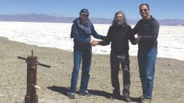 At Advantage Lithium's Stella Marys lithium project in Argentina's Salta province, from left: Callum Grant, vice-president of project development; Miguel Peral, director and general manager of operations; and David Sidoo, president and CEO. Credit: Advantage Lithium.