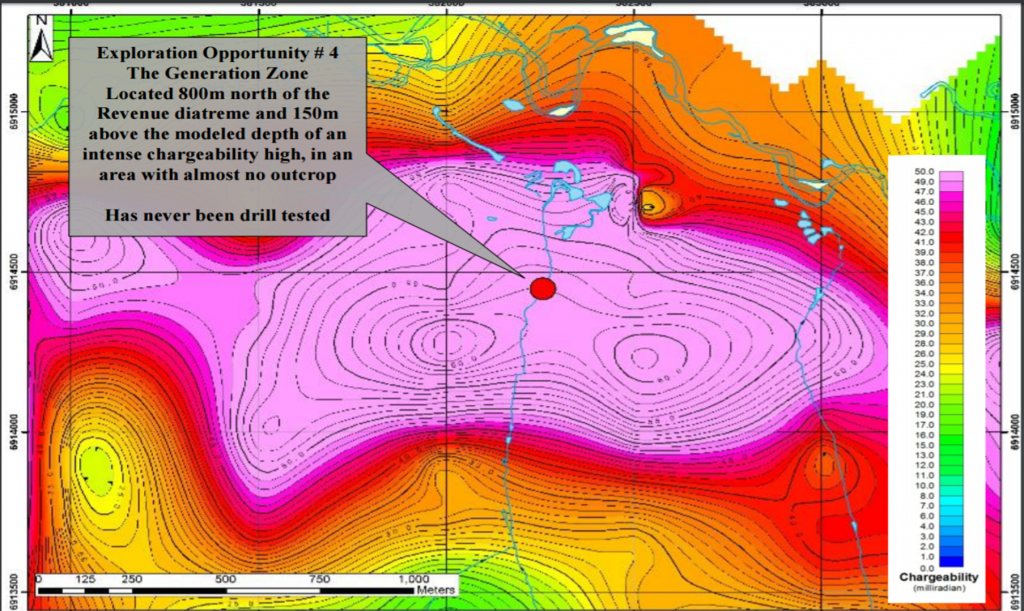 A map displaying an untested, intensechargeability high underlying Triumph's Generation zone. Location of discovery outcrop as noted in the picture. Credit: Triumph Gold.