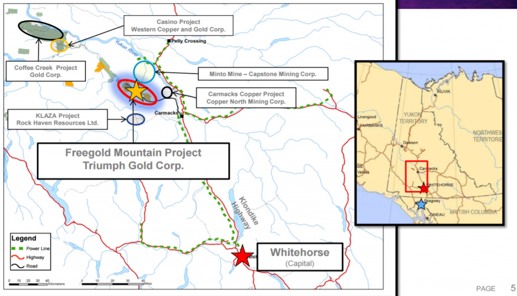 Location map of Triumph's Freegold Mountain project relative to major projects in southcentral Yukon. Credit: Triumph Gold.