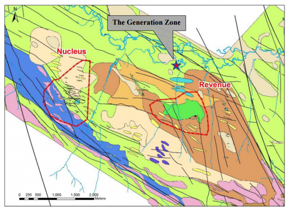The geology underlyingTriumph's three main target areas at its Freegold Mountain project in the Yukon. Credit: Triumph Gold.