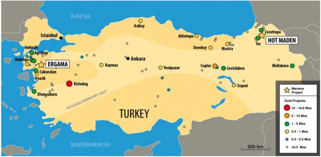 A generalized map of gold assets in Turkey, including Mariana's Hot Maden gold-copper project. Credit: Mariana Resources
